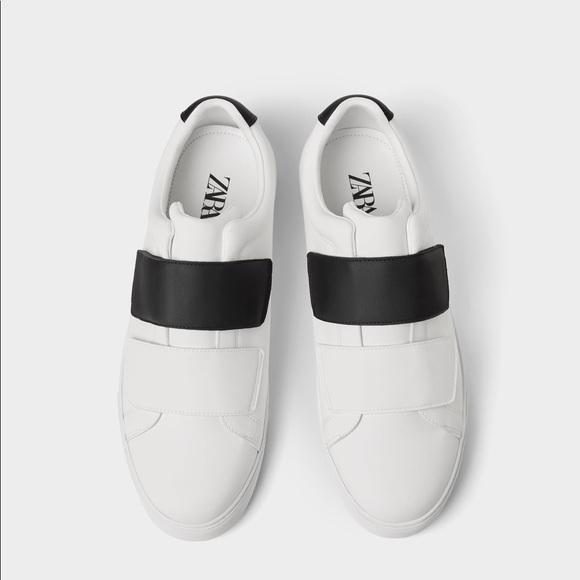 Zara Shoes | Strap Sneakers White Black